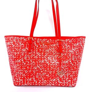 Michael Kors Purse Tote Bag Carry All Red Floral
